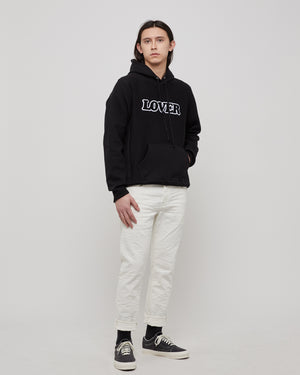 Lover Pullover Hoodie in Black & Chennile Aplique