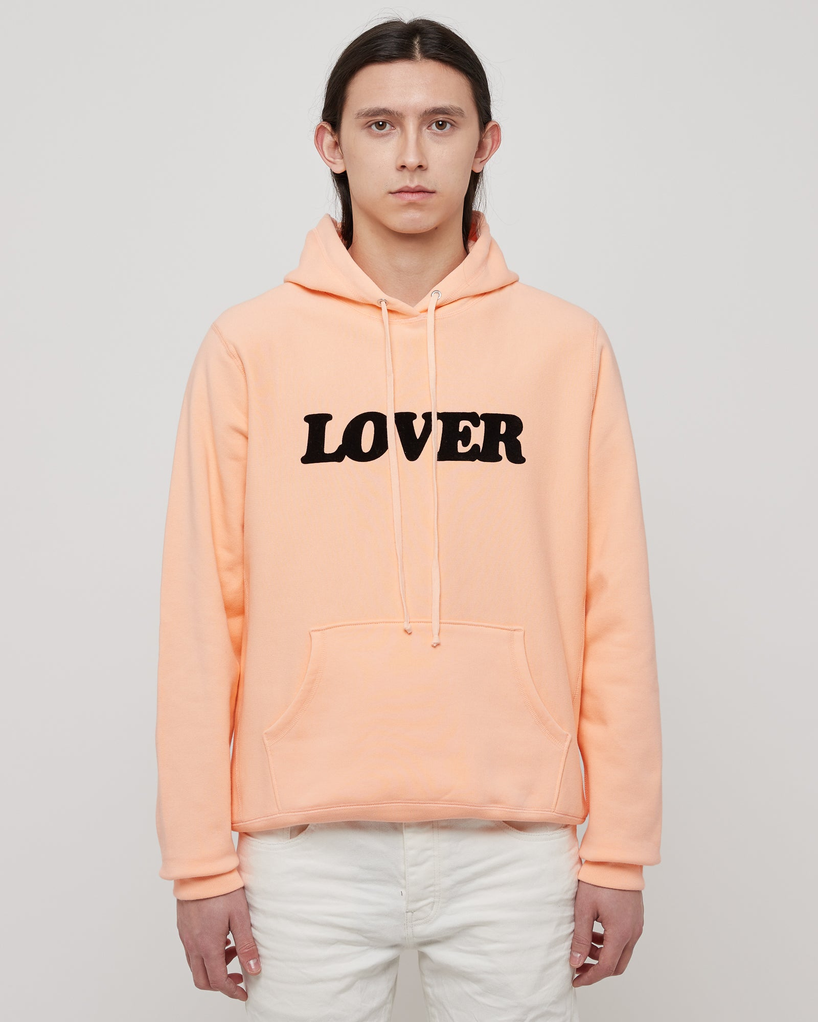 Lover Pullover Hoodie in Peach & Black