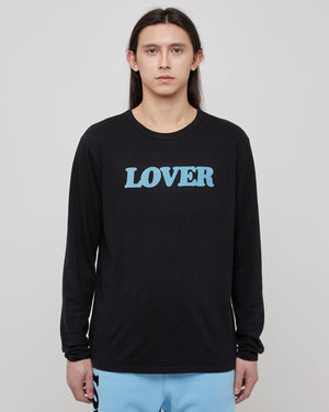 Lover L/S T-Shirt in Baby Blue & Black