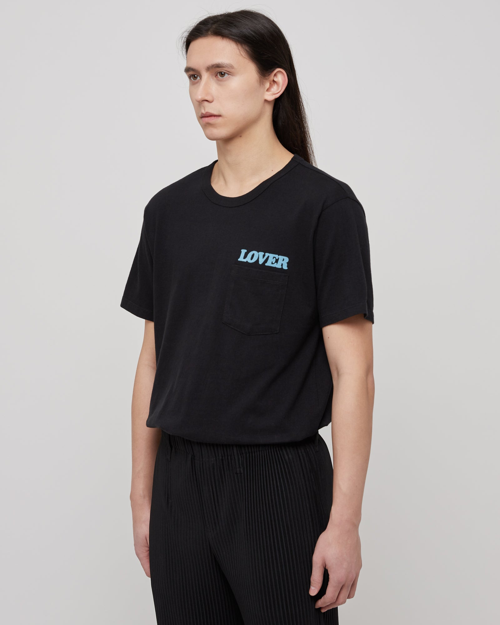 Lover Pocket T-Shirt in Baby Blue & Black