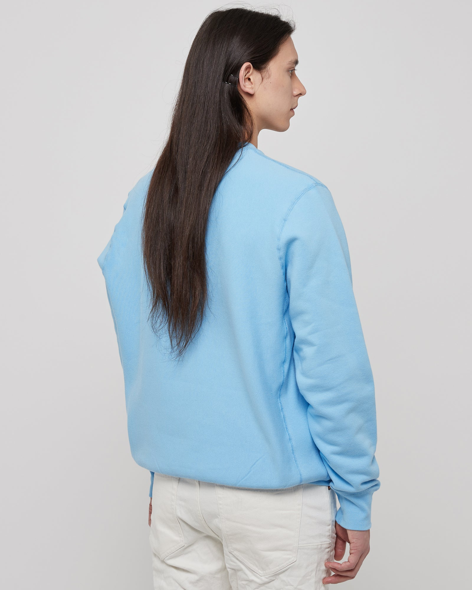 Lover Pullover Crewneck in Baby Blue & Black