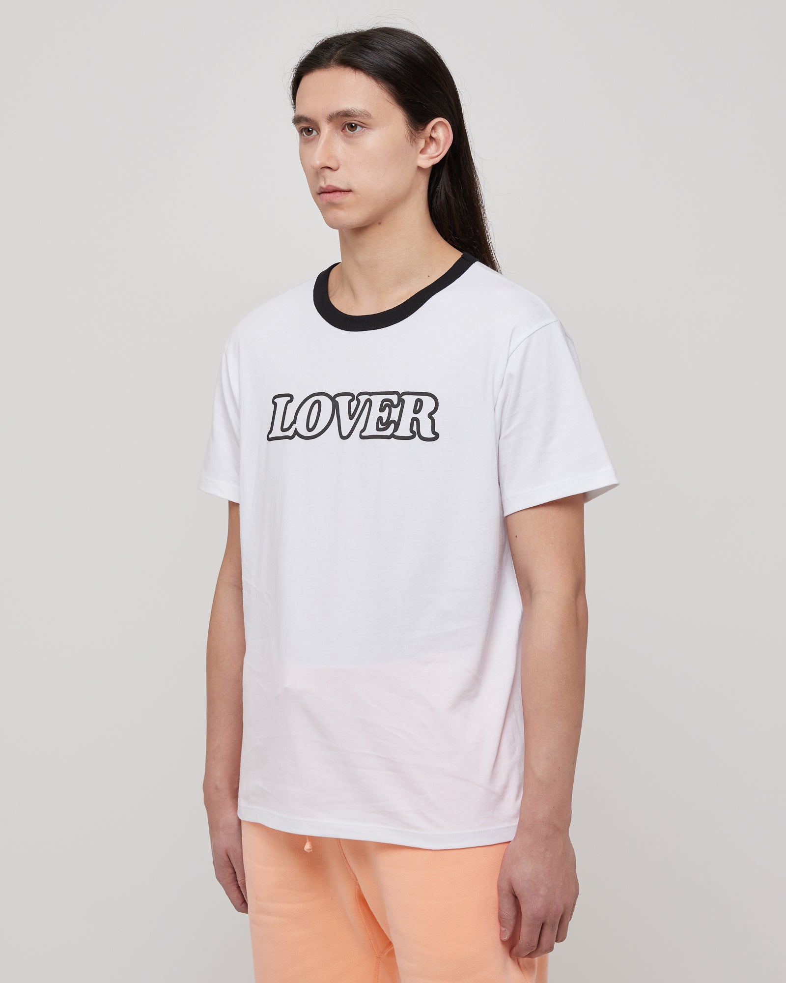 Lover Ringer T-Shirt in White & Black