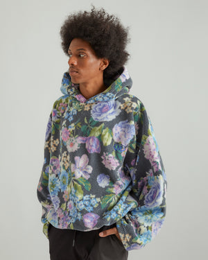 Bongo Batwing Hoodie in Black/Purple Floral