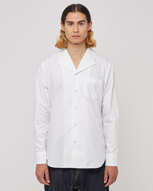 Box Pleat Button Up Shirt in White