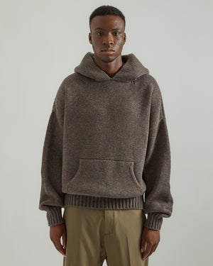 Brushed Knit Hoodie in Heather Gray