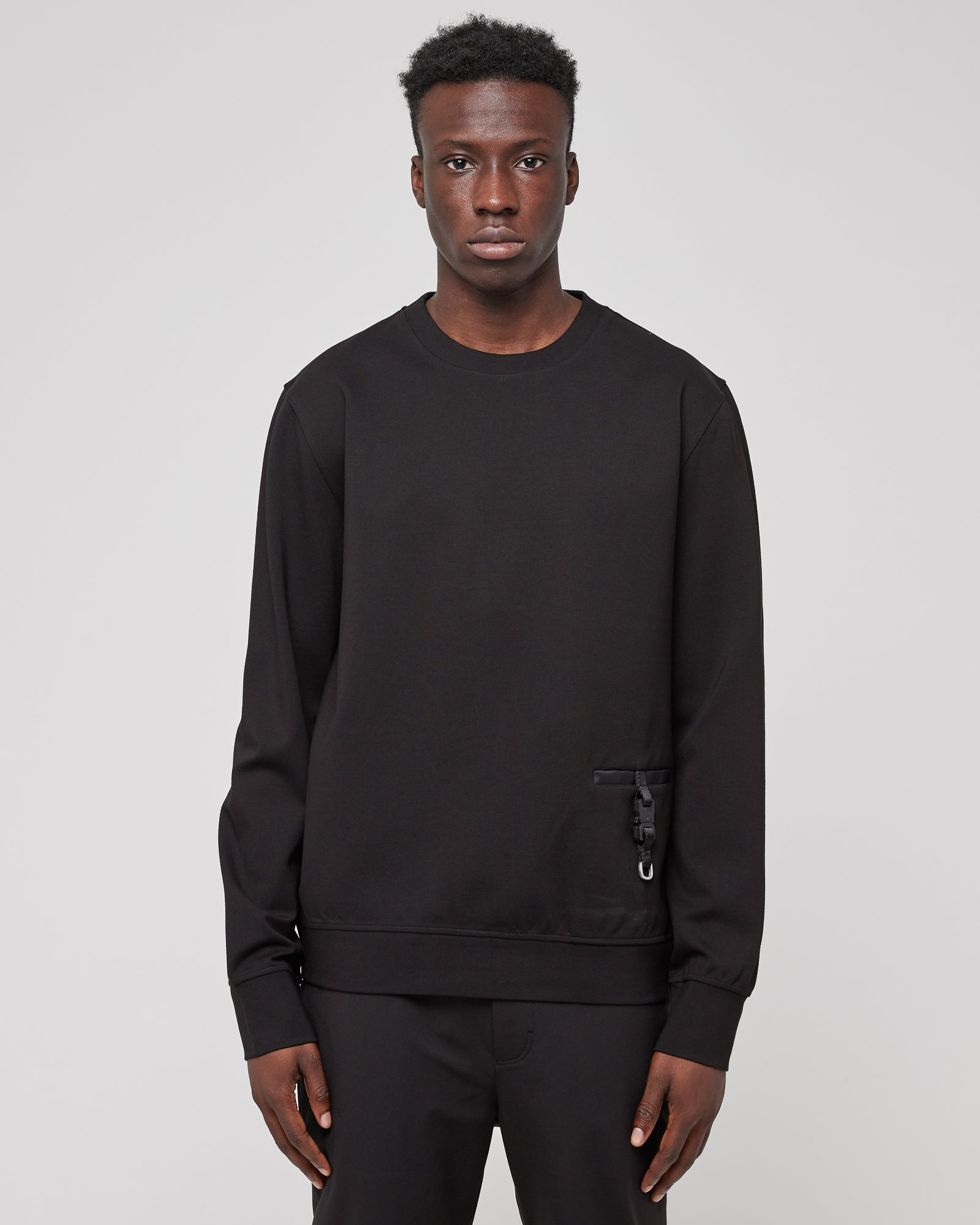 Buckle Detail Crewneck in Black
