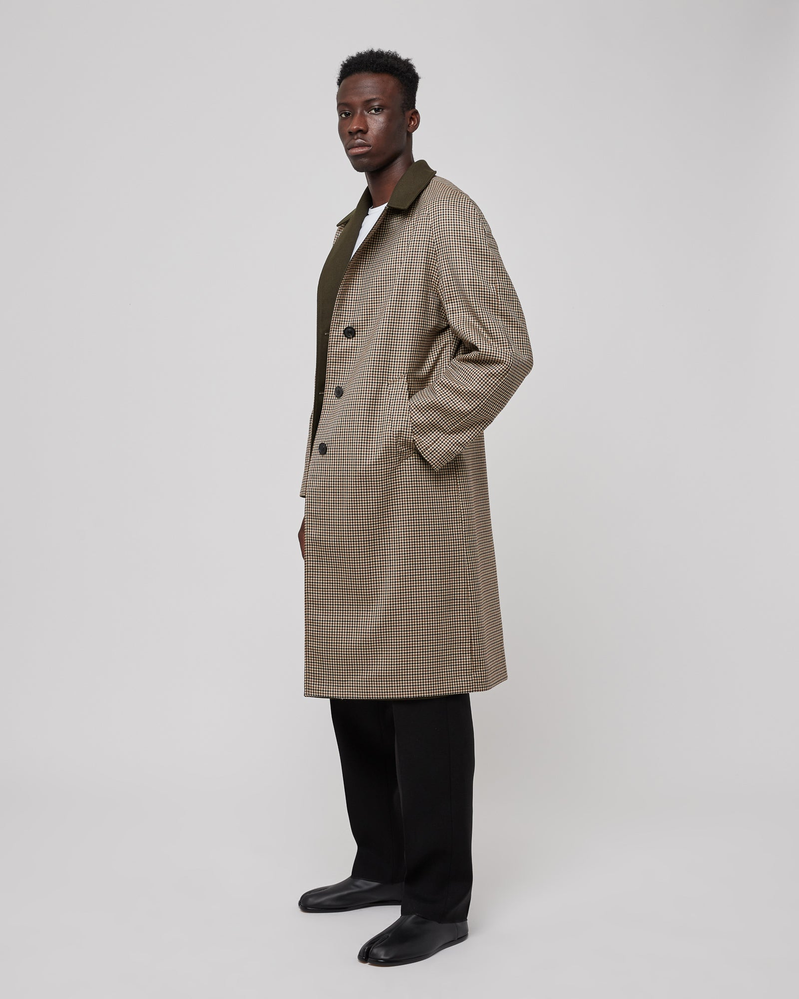 Button Down Trench Coat in Olive
