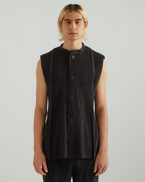 Button Down Vest in Black
