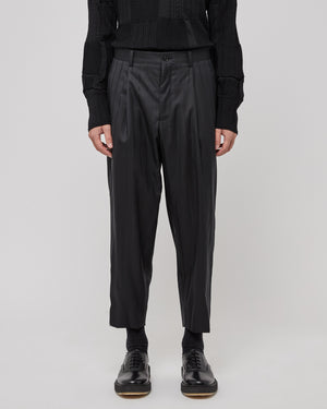 Pinstripe Trousers in Black