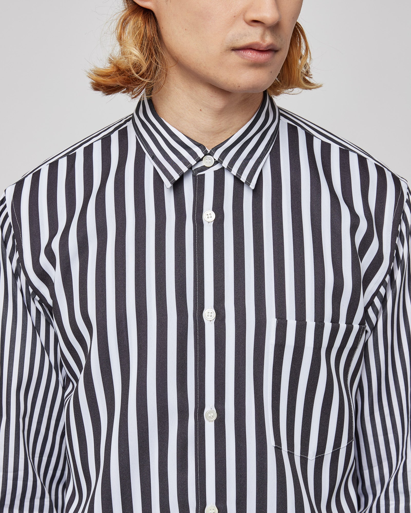 Two Layer Striped Shirt in Black/White