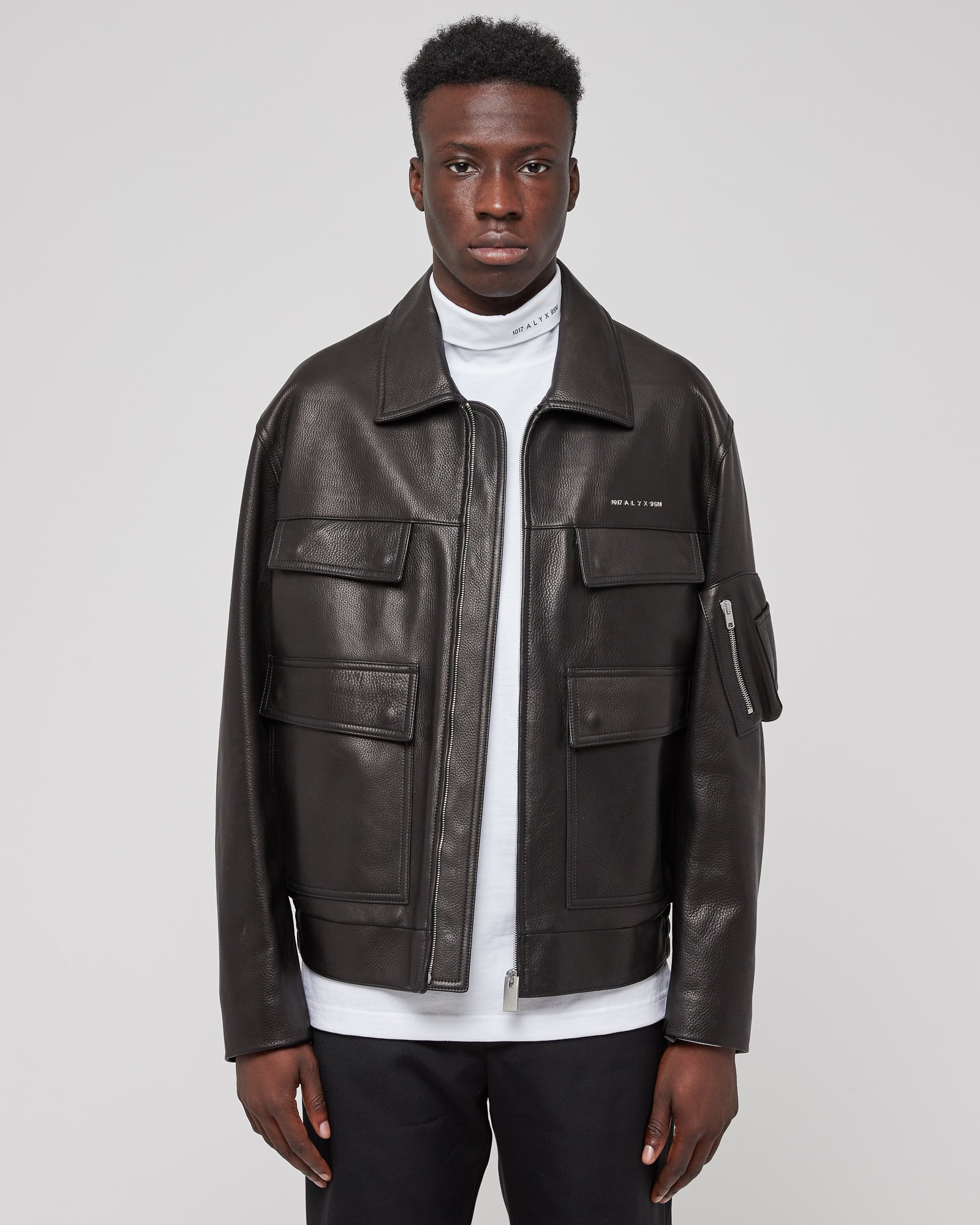 Calfskin Police Jacket in Black
