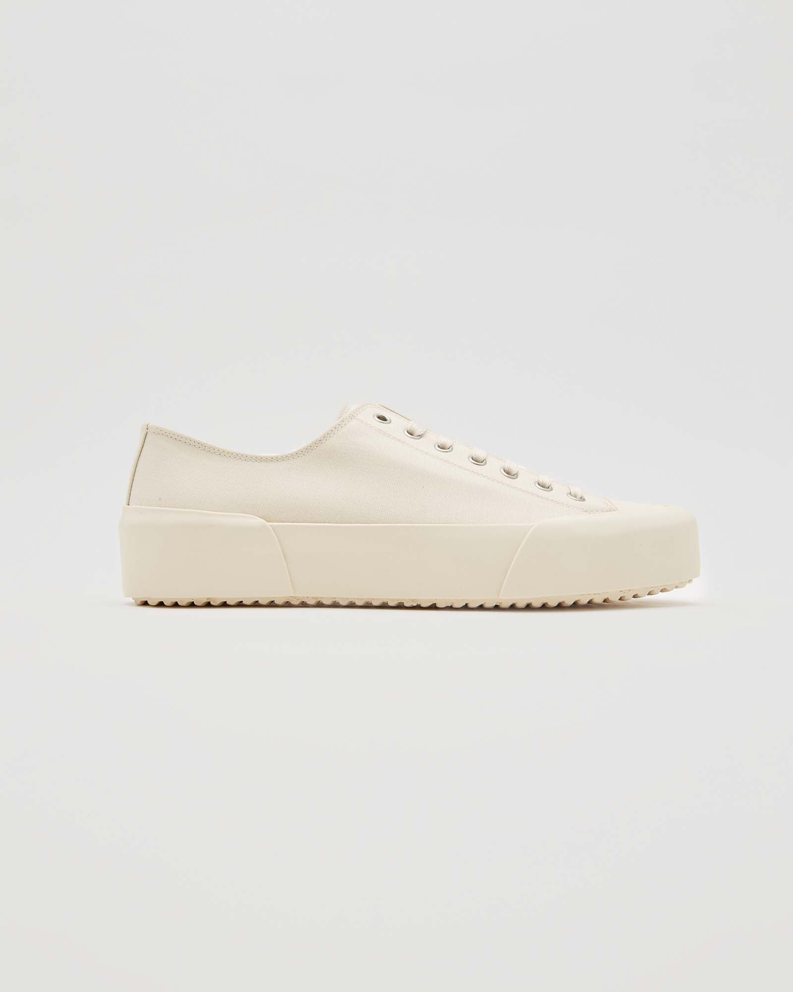 Canvas Lace Sneaker in Off-White