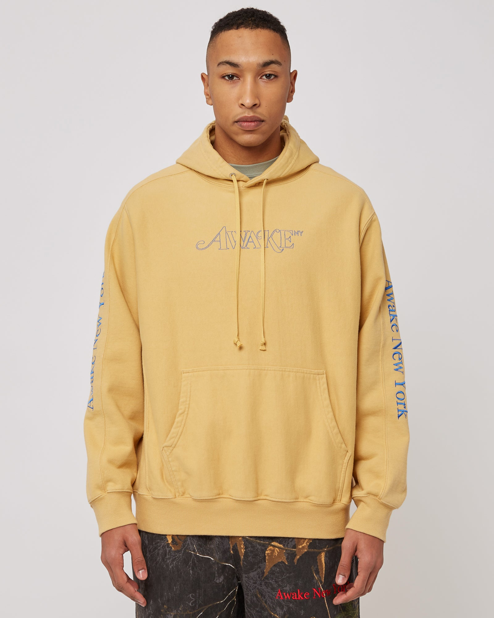 Classic Logo Embroidered Hoodie in Mustard