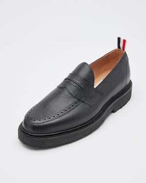 Classic Penny Loafer With Crepe Sole in Pebble Grain Black