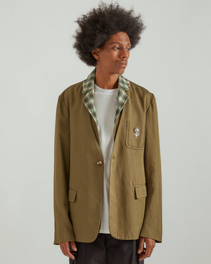 Collarless Blazer With Detachable Scarf in Green