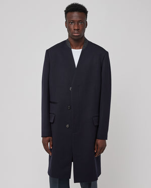 Collarless Suit Coat in Navy