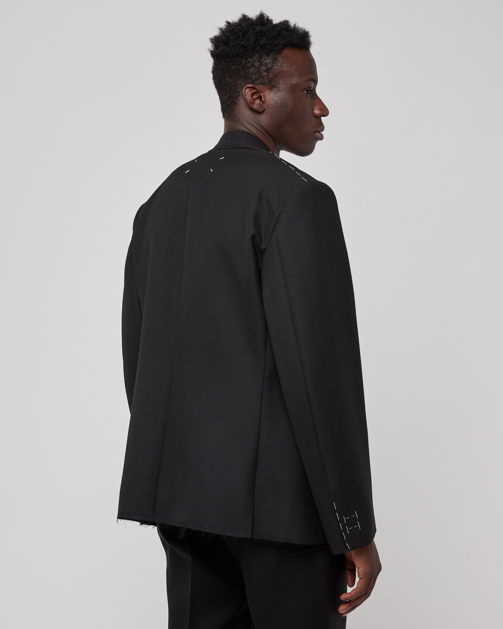 Collarless Suit Jacket in Black