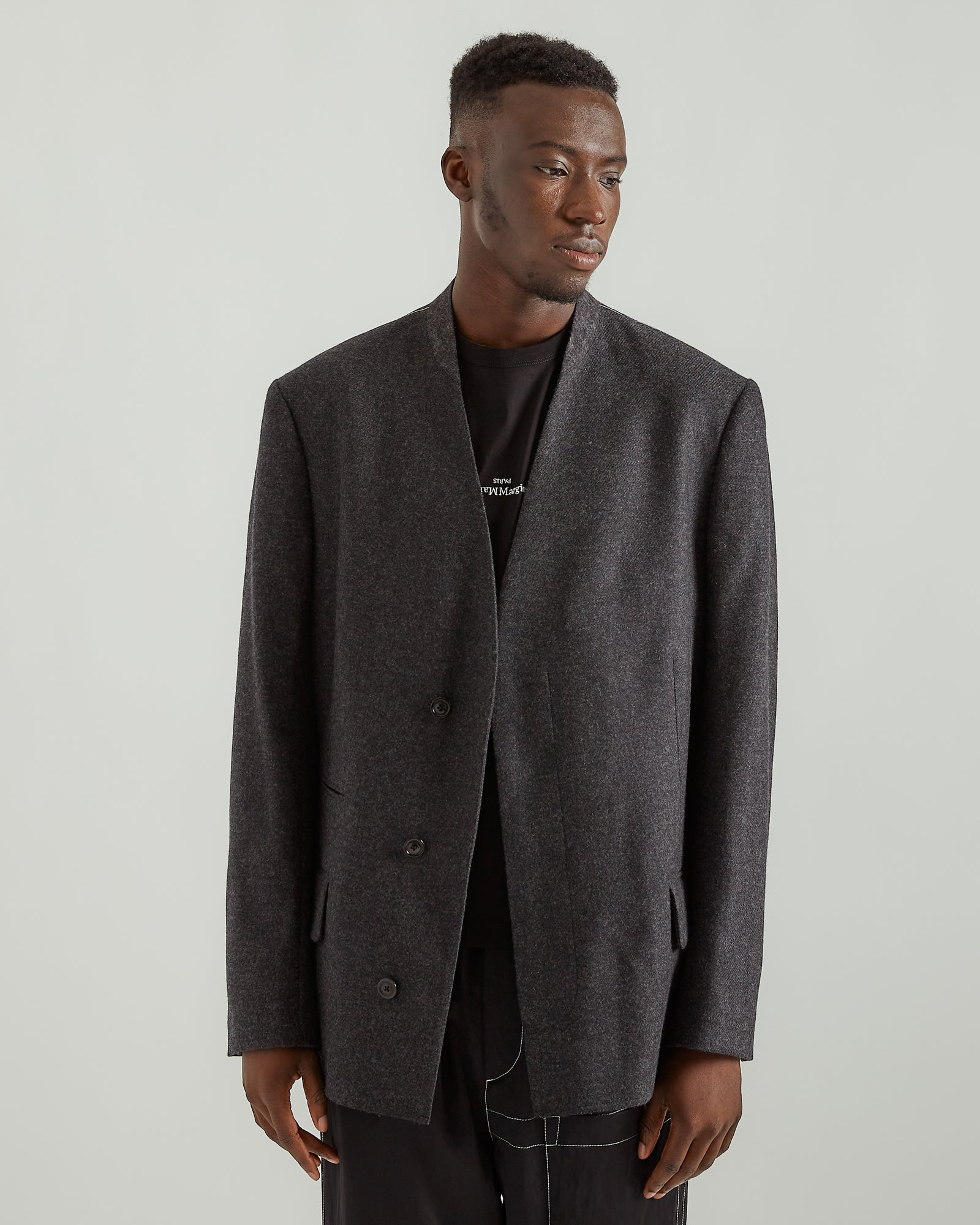 Collarless Suit Jacket in Black Fleck Wool