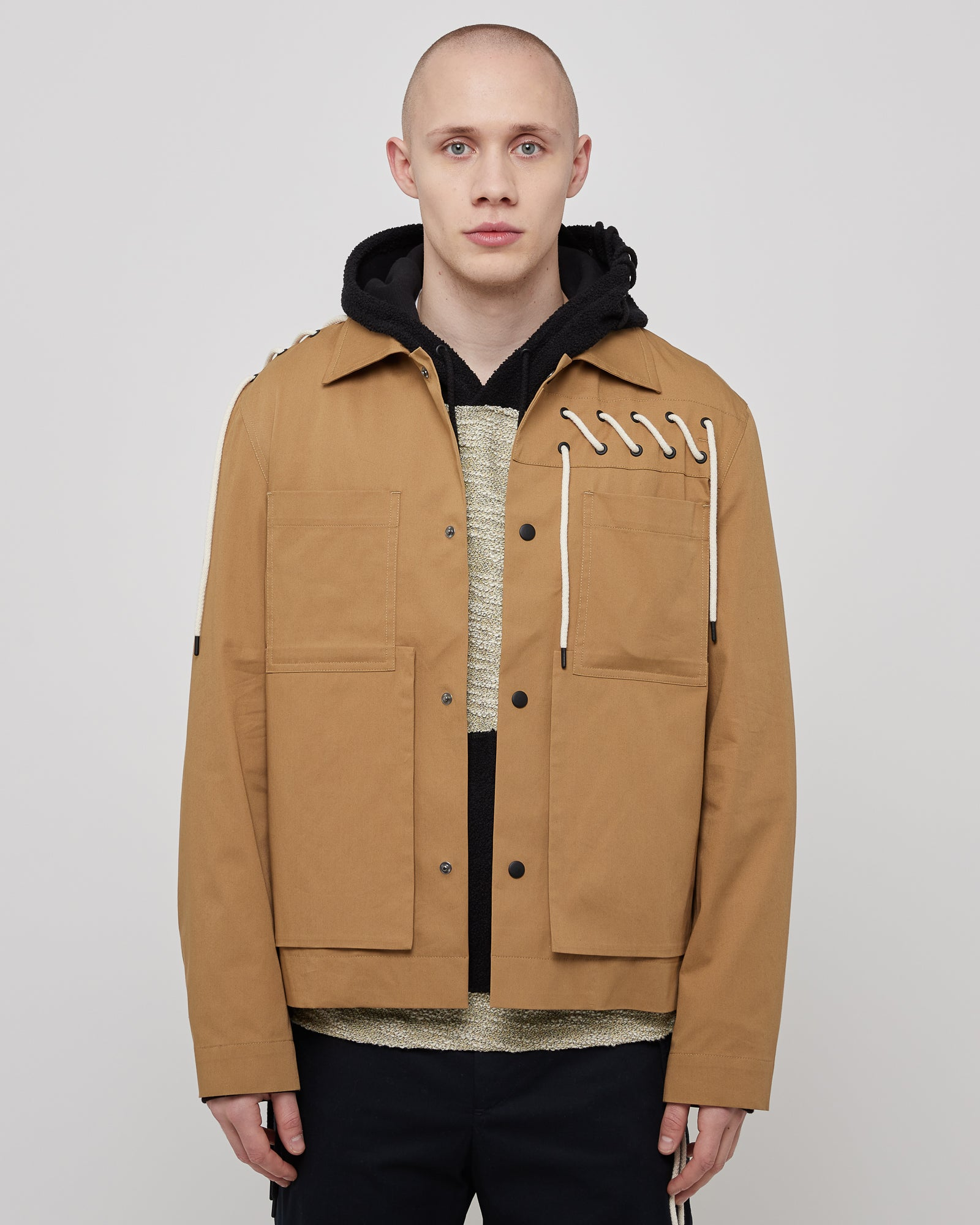 Laced Worker Jacket in Beige Cream