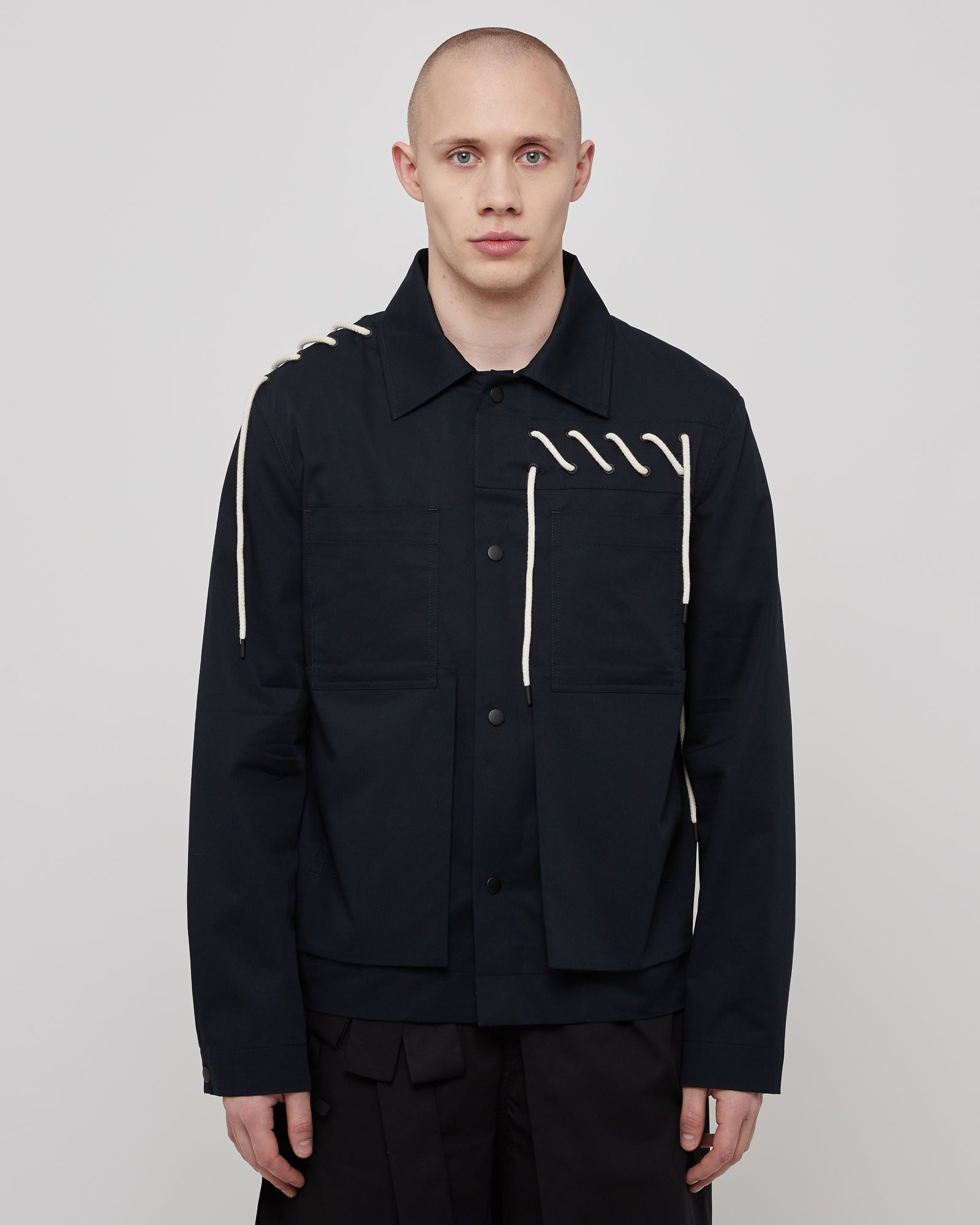 Laced Worker Jacket in Navy Cream