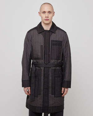 Line Stitch Organza Coat in Gray Pinstripe