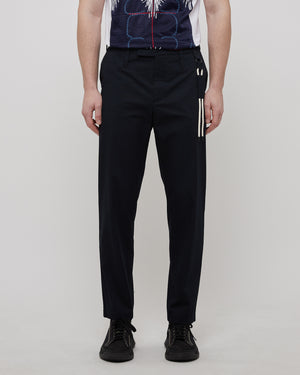 Slim Uniform Trousers in Navy/Cream