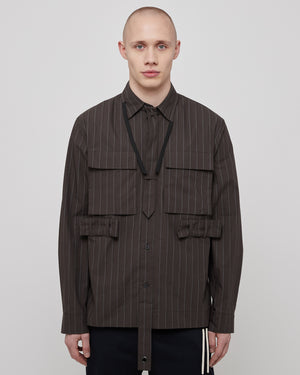 Tie Utility Shirt in Gray Pinstripe