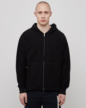 Laced Zip Hoodie in Black