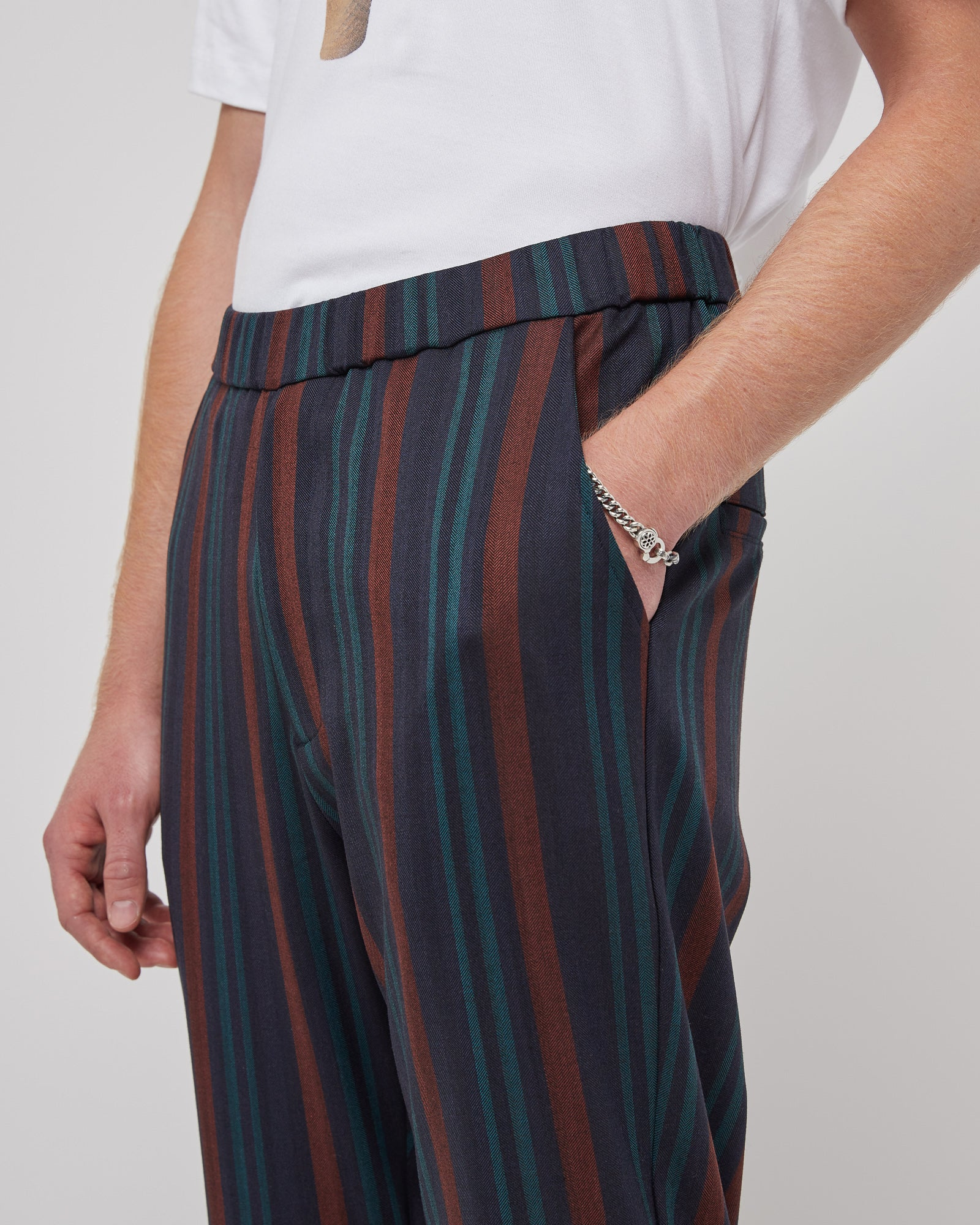 Daily Dose Slim Trouser in Blue Stripe