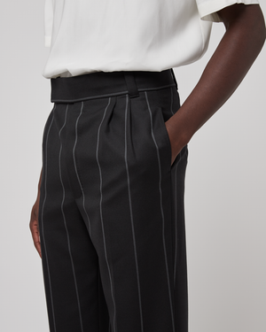 Double Pleats Trousers in Black Anthracite Mablan
