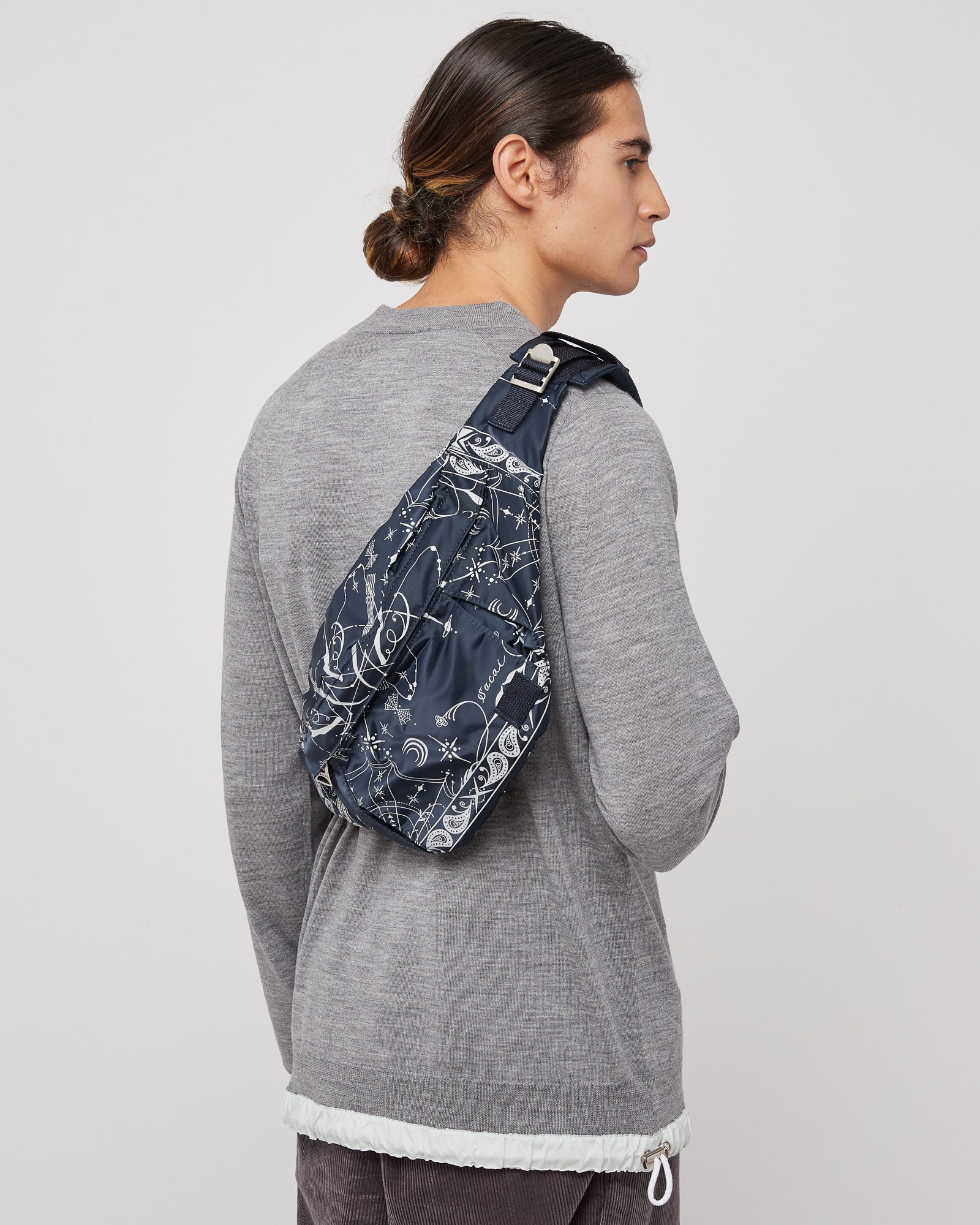 Dr. Woo Bandana Print Nylon Waist Bag in Navy