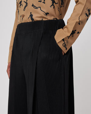 Dual Pleated Pants in Black