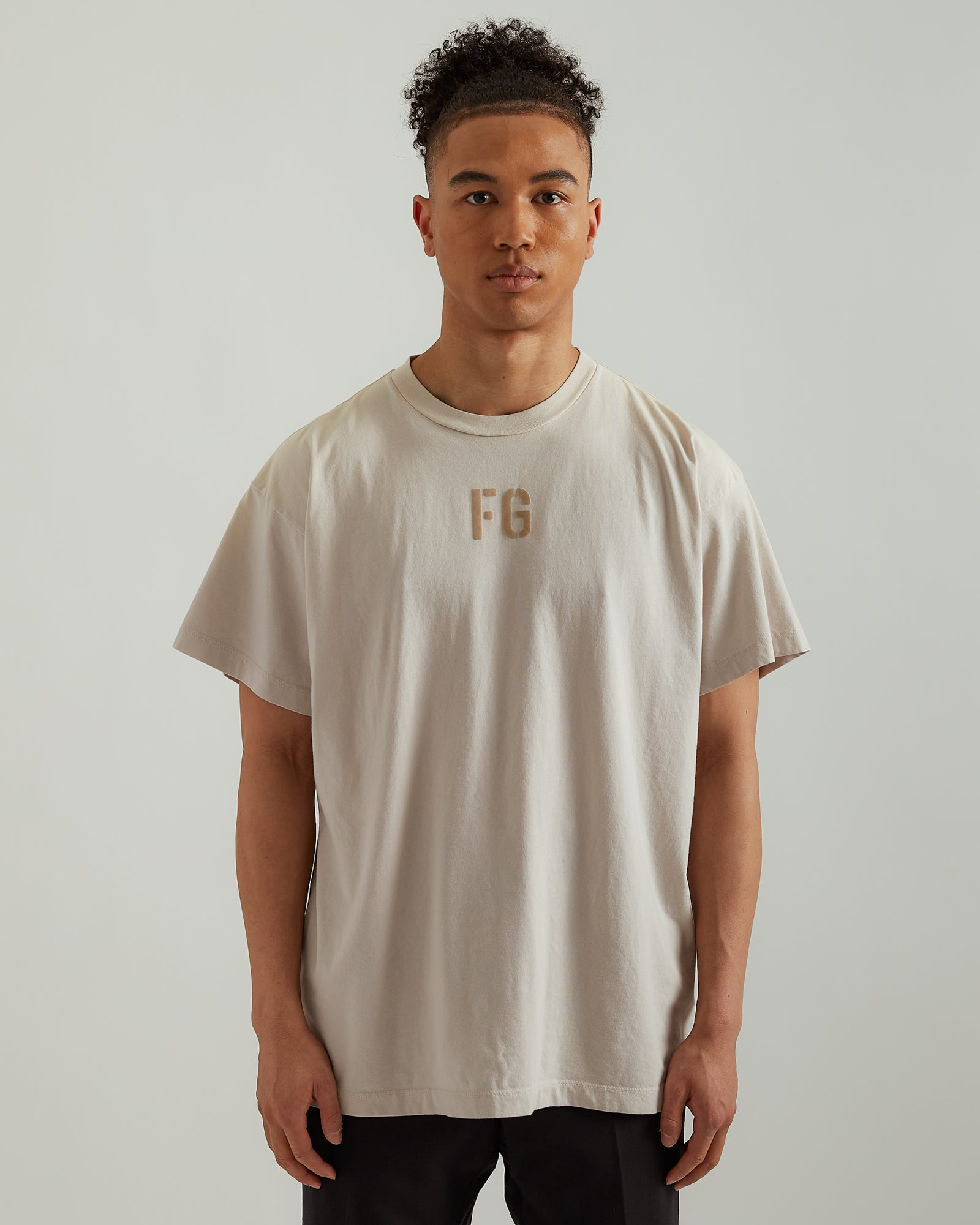 """FG"" Tee in Vintage Concrete White"