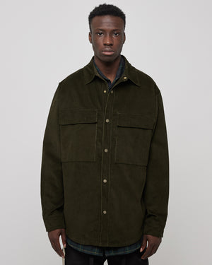 Corduroy Shirt Jacket in Forest Green