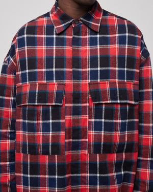 L/S Plaid Button Up In Red/Navy