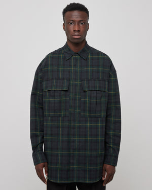 L/S Plaid Button Up In Green/Navy