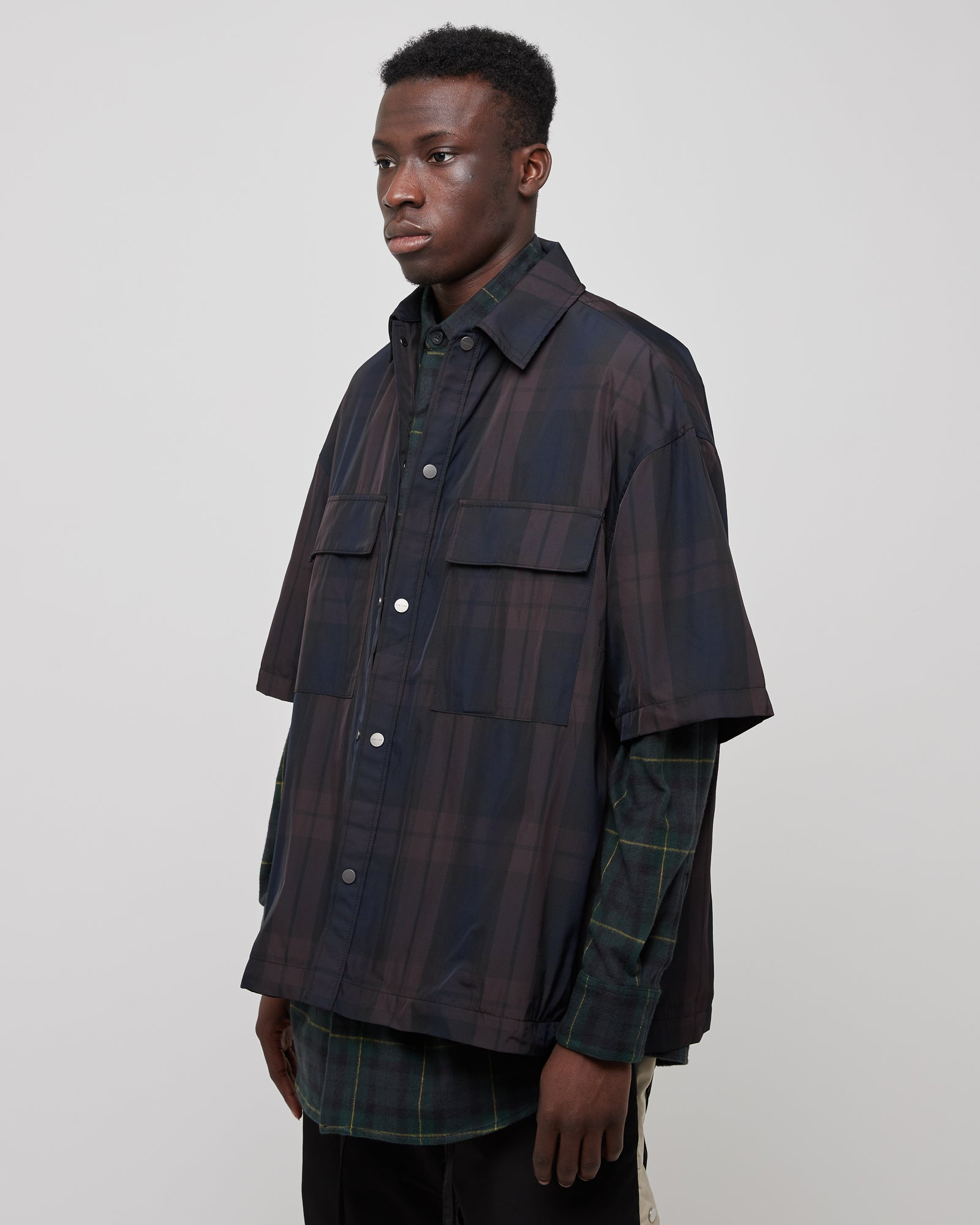 Oversized Nylon Shirt in Navy/Brown Plaid