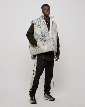 Reversible Nylon Oversized Camo Vest in Gray