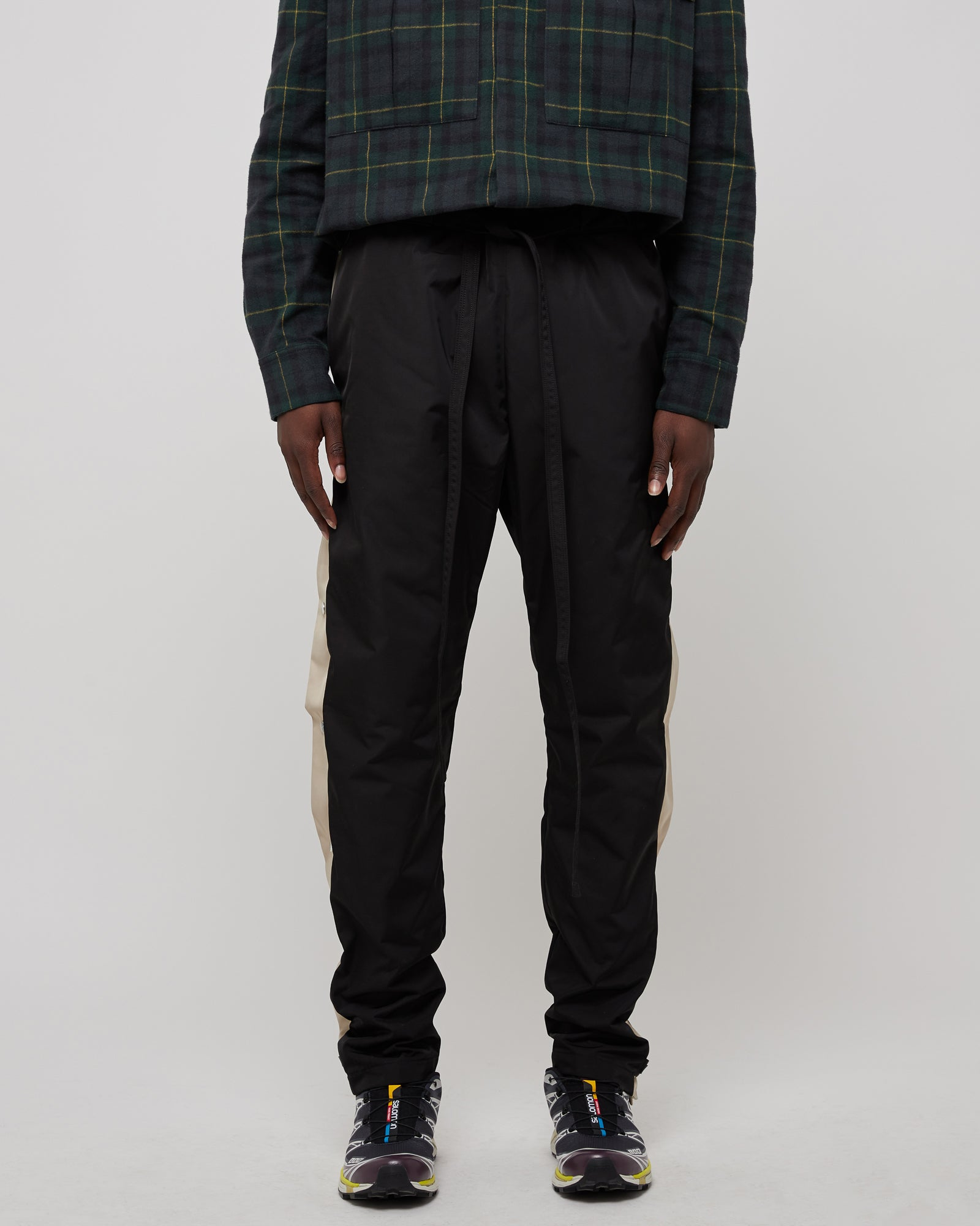 Striped Baggy Tearaway Pant in Black Bone