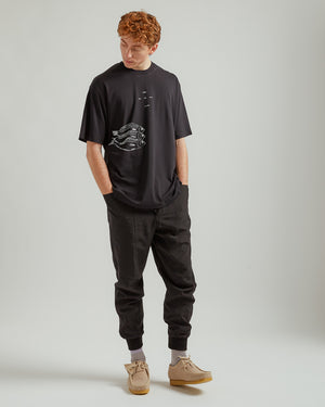 Ribbed Panelled Track Pant in Black