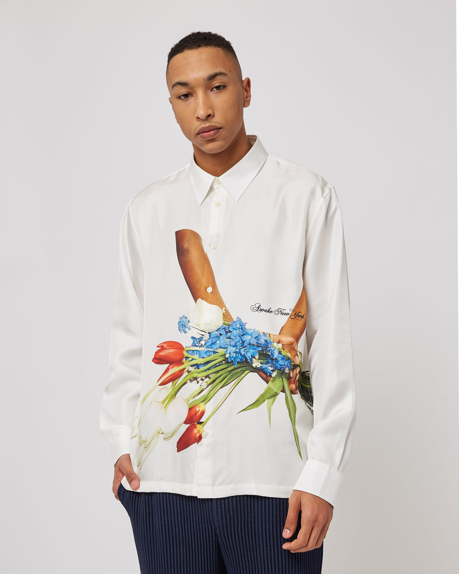 Flowers Silk Shirt in White