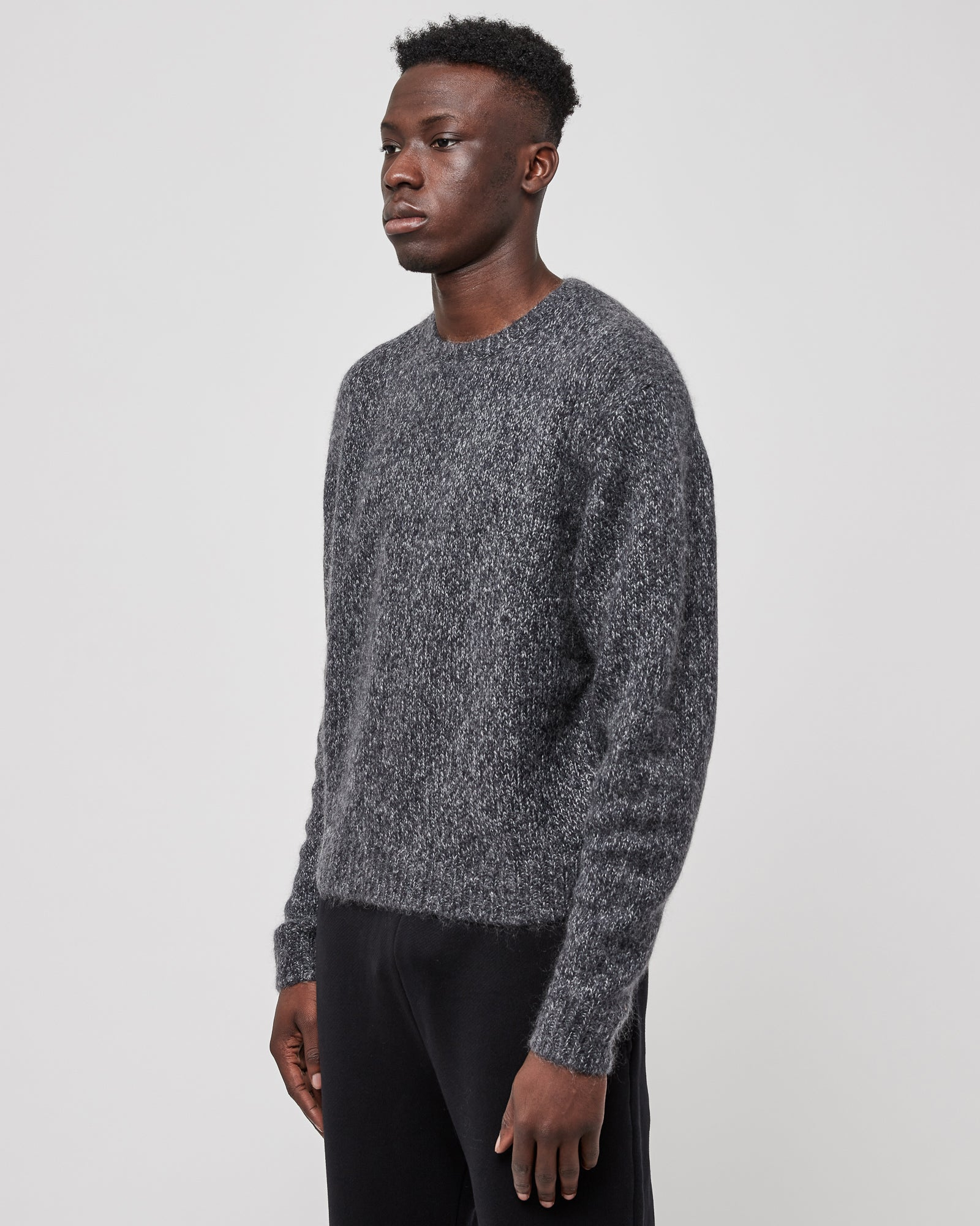 Foggy Wool Crew in Charcoal