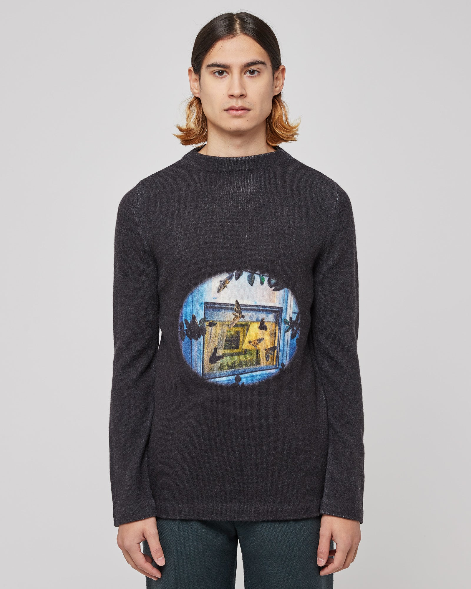 Fremont Printed Turtleneck in Worn Print Black