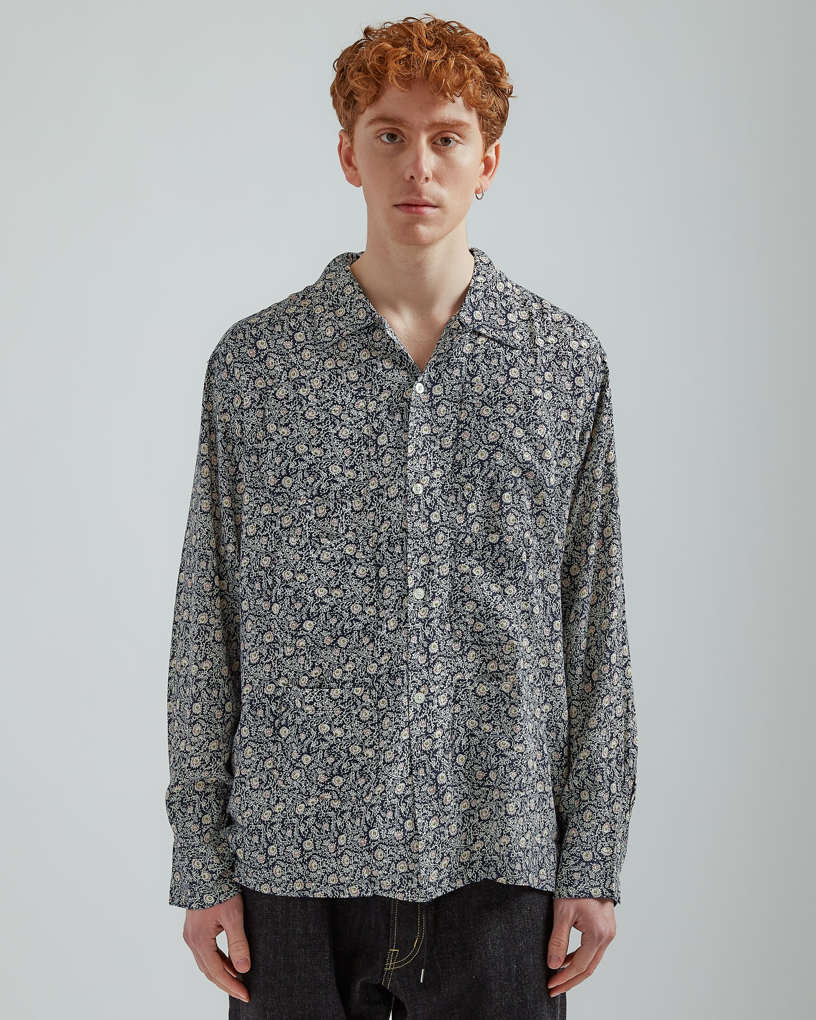 Froret Print 6 Pocket Shirt in Navy
