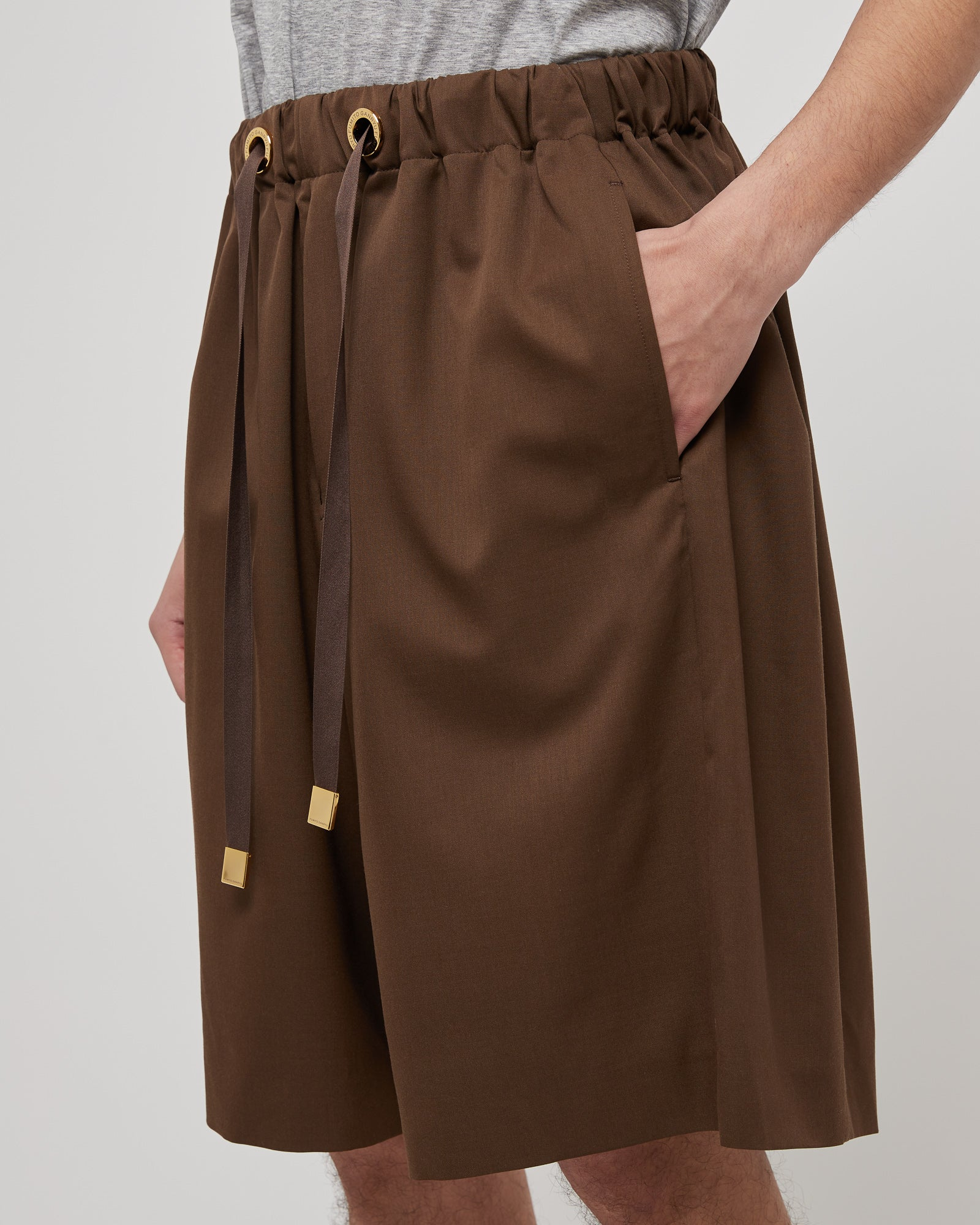 Lounge Drawstring Shorts in Brown
