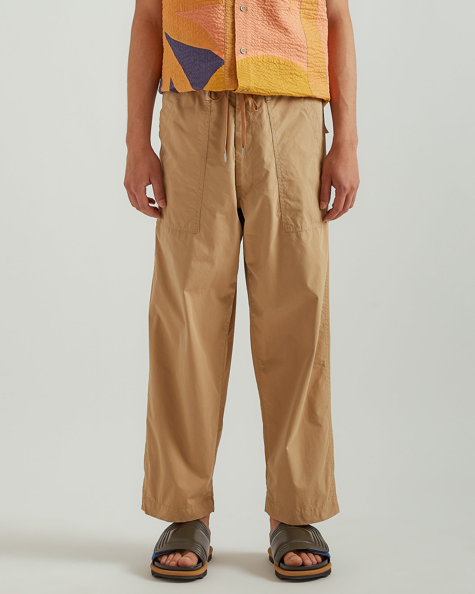 Drawstring Workwear Trouser in Beige