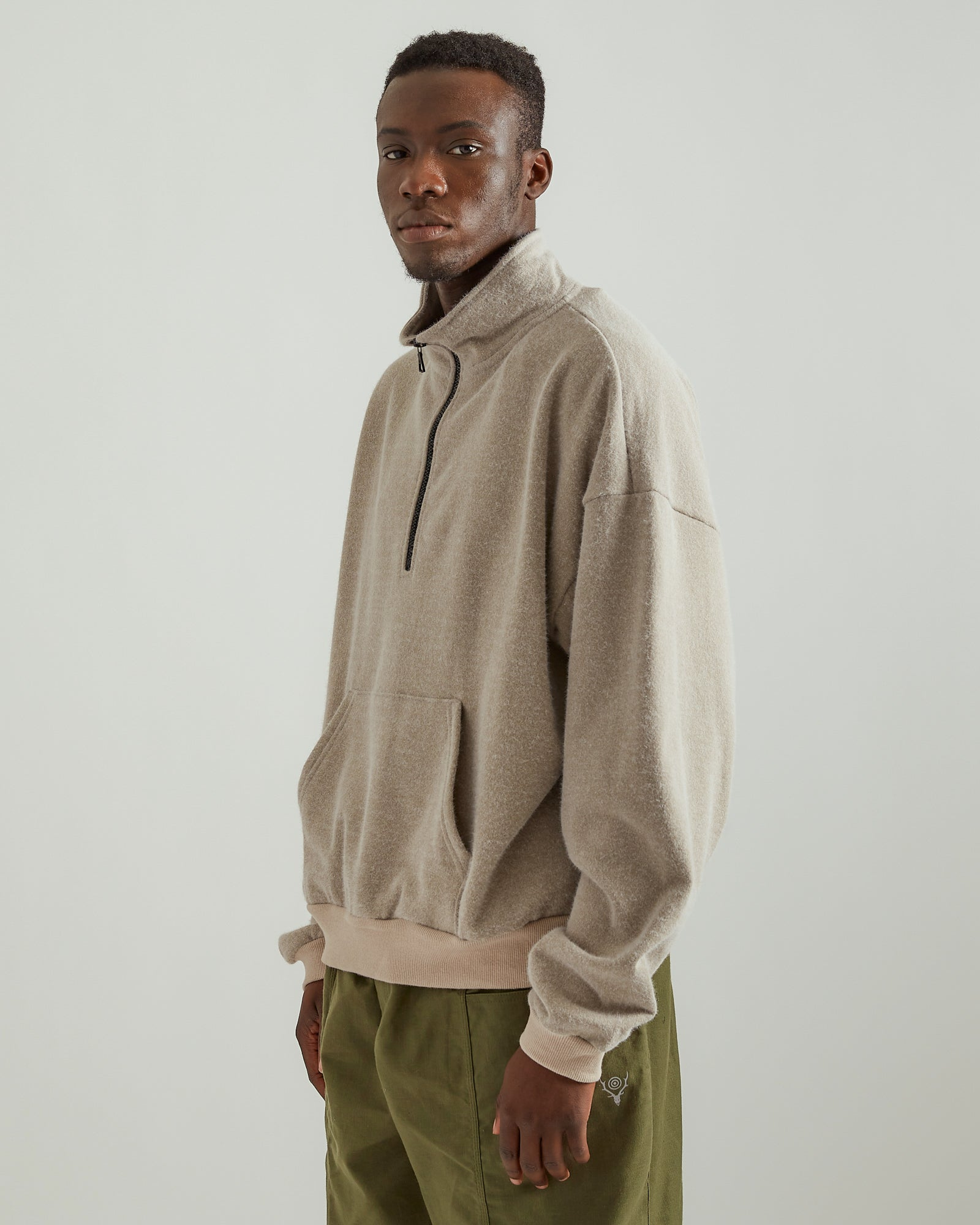 Fur Terry Half Zip Pullover in Wheat