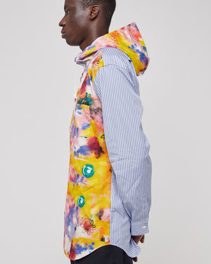 Futura Button Up Hooded Shirt in Print C