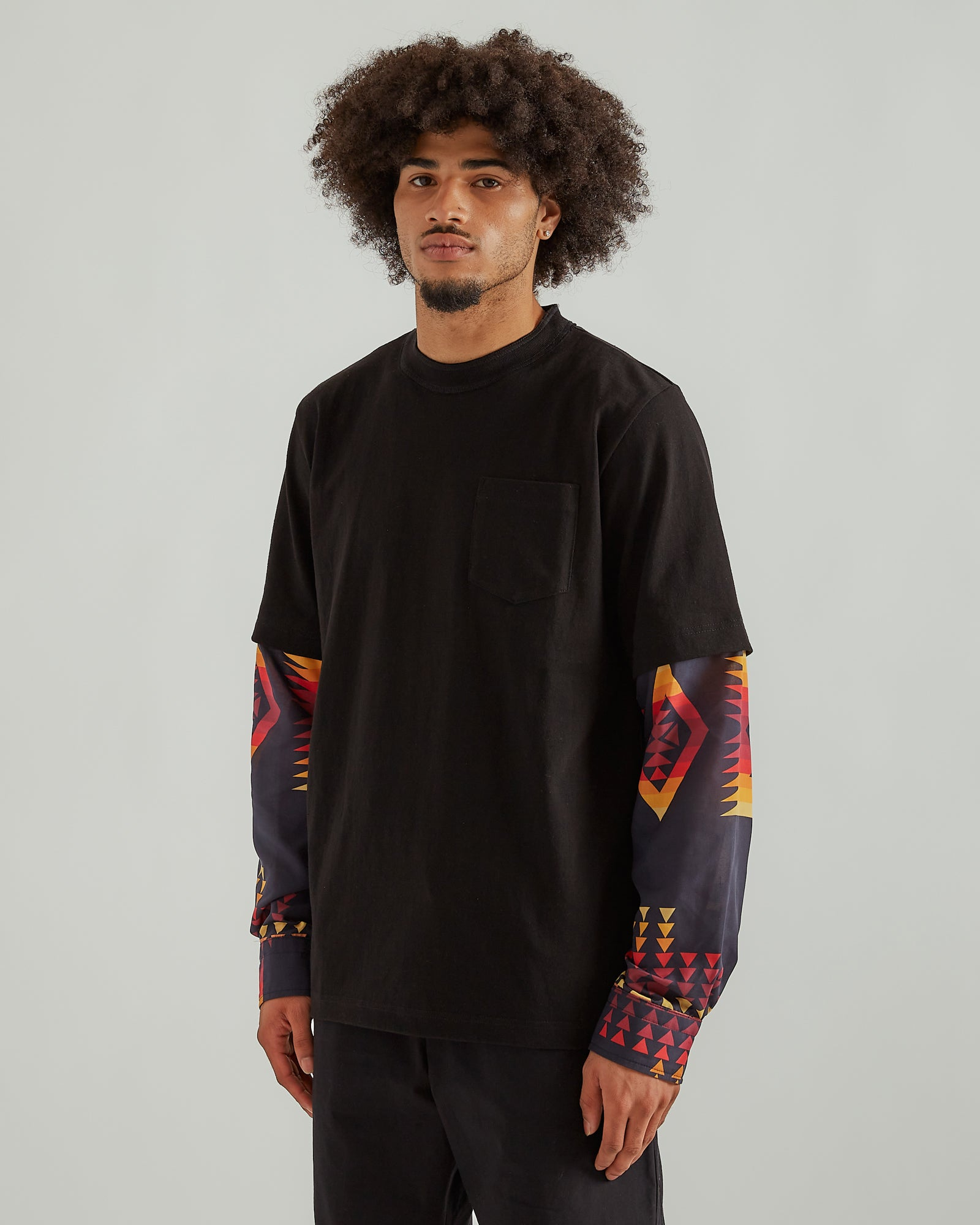 Archive Print L/S T-Shirt in Black/Orange
