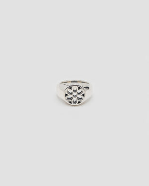 Signet Ring With Rosette, Sterling